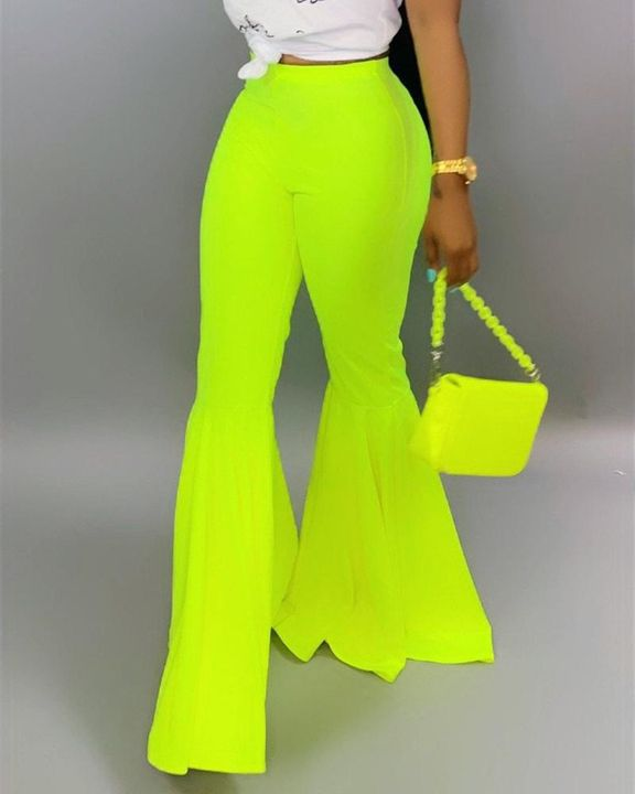 Solid Mid Waist Flare Pants gallery 7