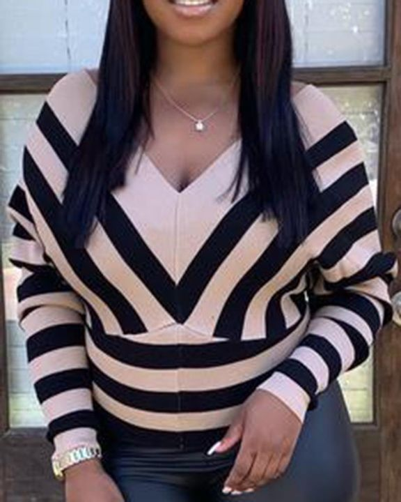 Striped Raglan Sleeve Form Fitted Sweater gallery 2