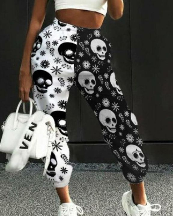 Colorblock & Halloween Graphic Pattern Pocket Side Joggers gallery 1