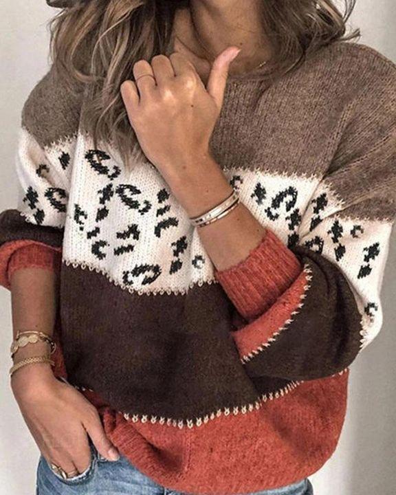 Colorblock & Leopard Print Drop Shoulder Sweater gallery 1