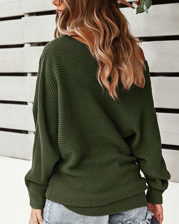 Solid Ribbed Knit Boat Neck Sweater gallery 6