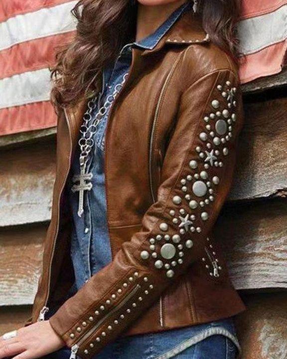 PU Leather Studded Zip Up Wrap Moto Jacket gallery 3