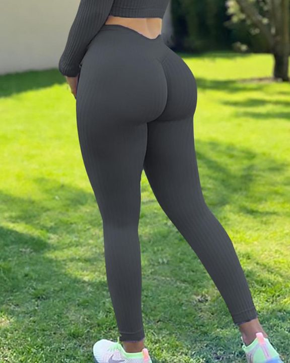 Ribbed Knit Butt Lifting High Waist Sports Leggings gallery 6
