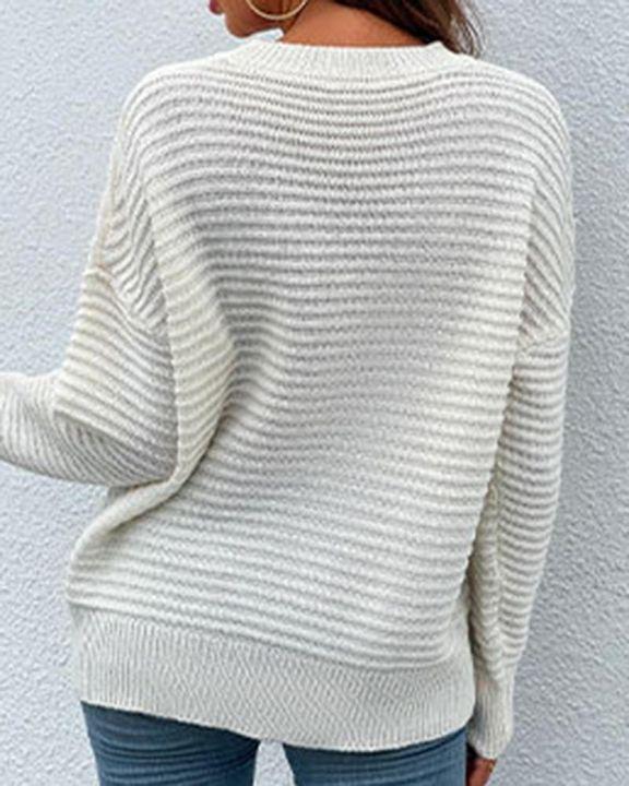 Keyhole Neck Drop Bishop Sleeve Sweater gallery 12