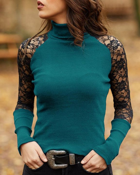 Solid Floral Lace Rib-Knit High Neck Sweater gallery 3