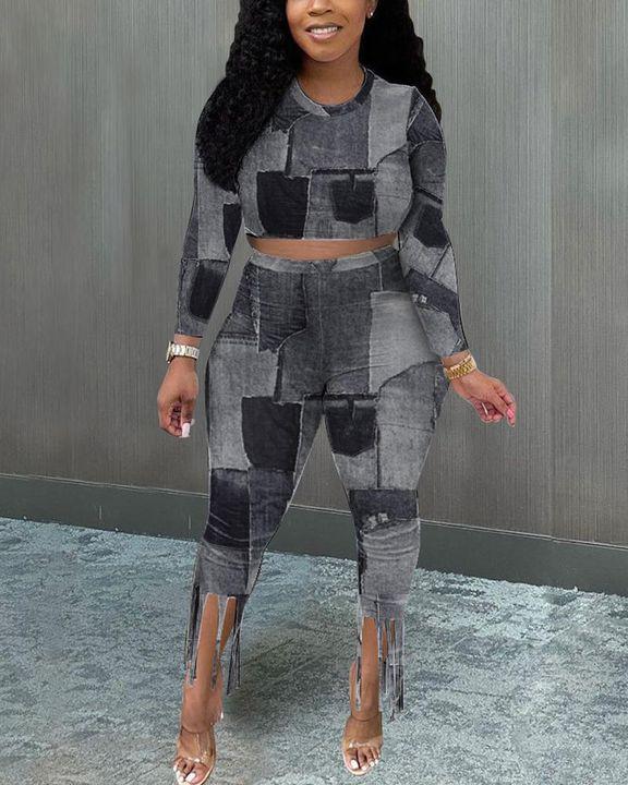 Denim Look Spliced Fringe Trim Long Sleeve Crop Top & Shorts Set gallery 1