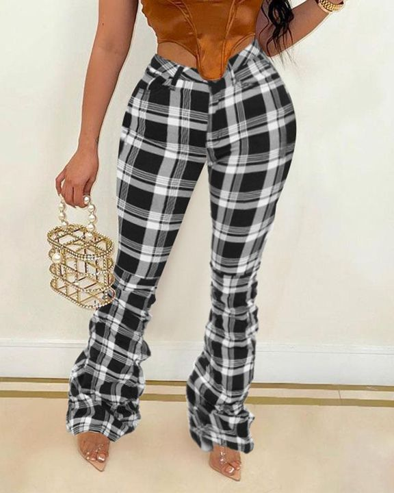 Plaid Print Stacked High Waist Flare Pants gallery 3
