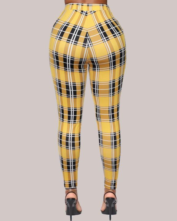 Plaid Print High Waist Skinny Pants gallery 6