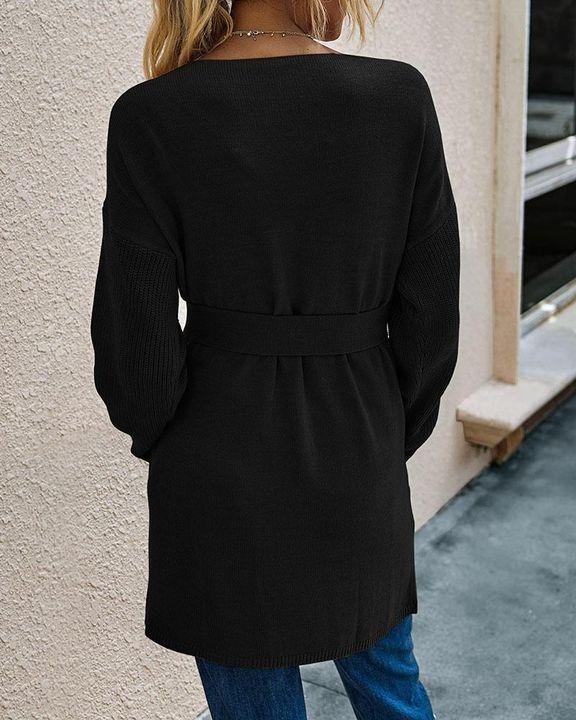 Slant Pocket Belted Decor Open Front Cardigan gallery 5