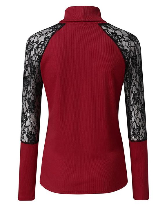 Solid Floral Lace Rib-Knit High Neck Sweater gallery 8
