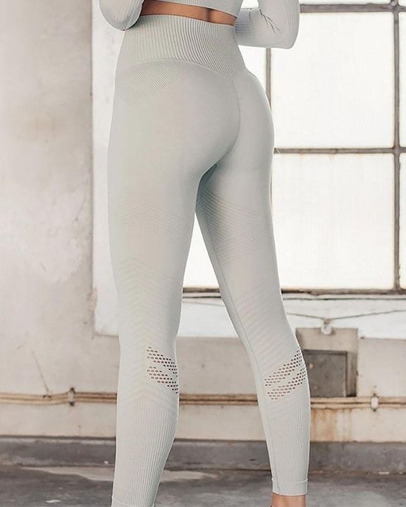 Hollow Out Wide Waistband Seamless Butt Lifting Sports Leggings gallery 4