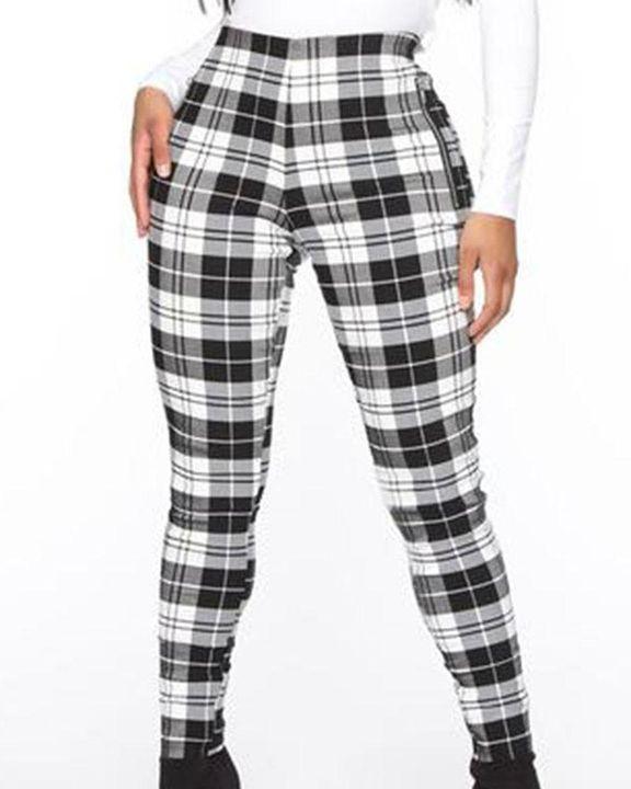 Plaid Print Zip-Pocket Side High Waist Pants gallery 4