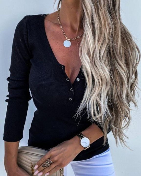Solid Ribbed Knit Button Up Bodycon Sweater gallery 2