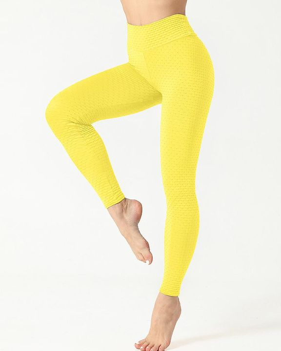 Solid Textured Scrunch Butt Absorbs Sweat Hip Lift Sports Leggings gallery 14