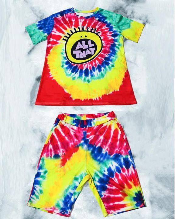 Tie Dye & Cartoon Graphic Drop Shoulder Top & Shorts Set gallery 7