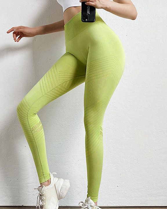 Hollow Out Wide Waistband Seamless Butt Lifting Sports Leggings gallery 6