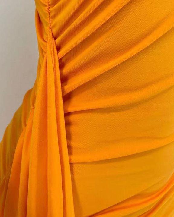 Solid Ruched Split Hem Ruffle Trim One Shoulder Maxi Dress gallery 12