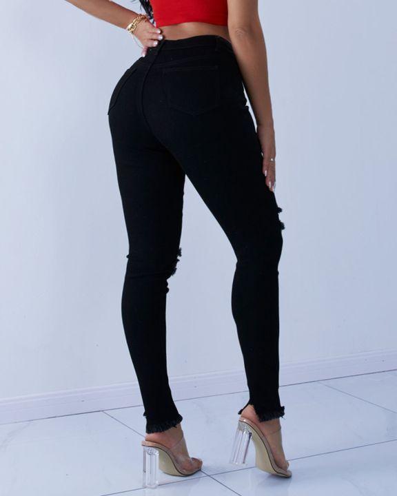 Solid Knee Distressed Raw Hem Jeans gallery 12
