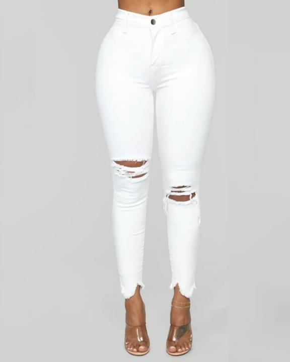Solid Knee Distressed Raw Hem Jeans gallery 3