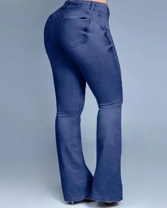 Button Front Butt Lifting Flare Jeans gallery 11