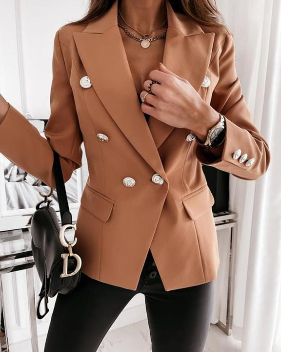 Solid Double Breasted Lapel Neck Blazer gallery 5