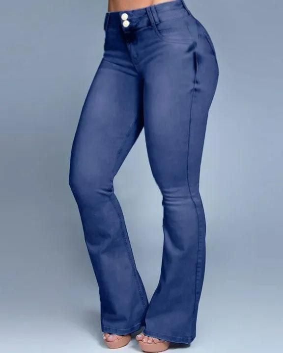 Button Front Butt Lifting Flare Jeans gallery 9
