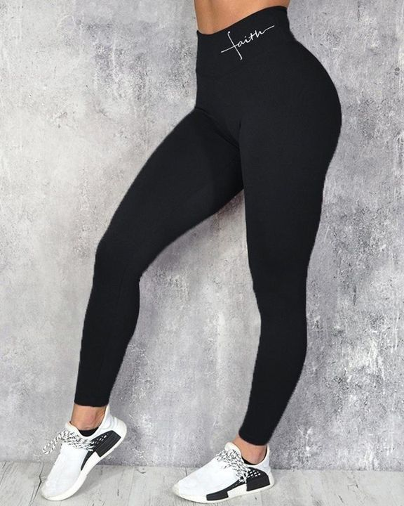 Letter Print Wide Waistband Butt Lifting Sports Leggings gallery 1