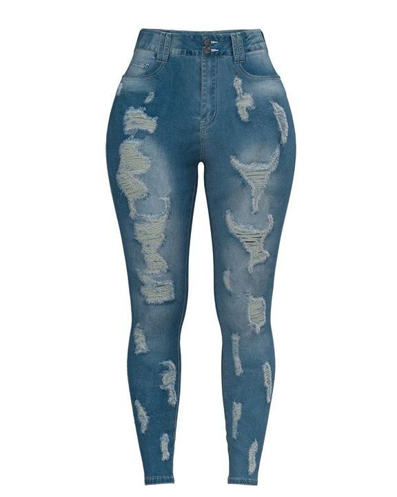 Extreme Distressed High Waist Skinny Jeans gallery 10