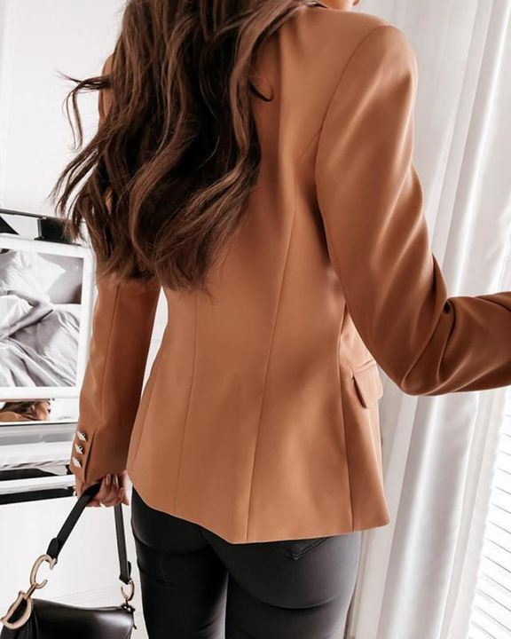 Solid Double Breasted Lapel Neck Blazer gallery 4