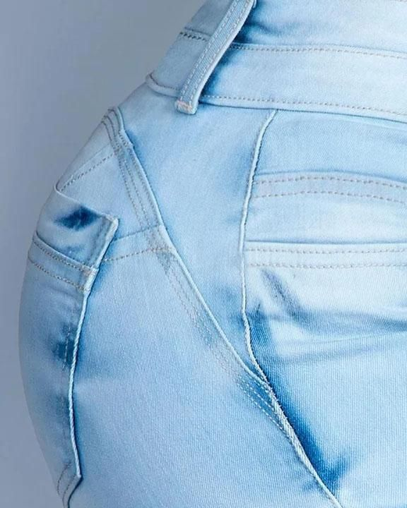 Button Front Butt Lifting Flare Jeans gallery 6