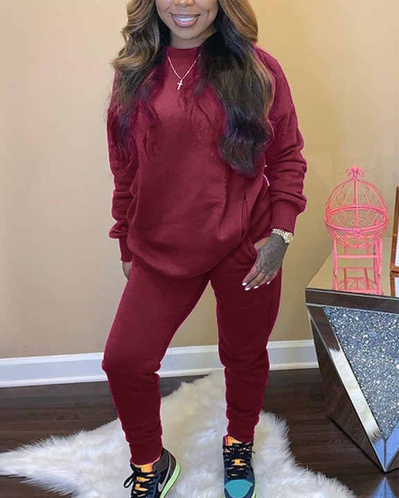 Solid 4 Pockets Long Sleeve Top & Pants Set gallery 4