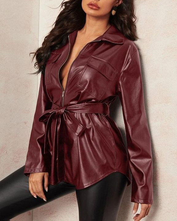 PU Leather Flap Pocket Belted Zip Front Jacket gallery 3