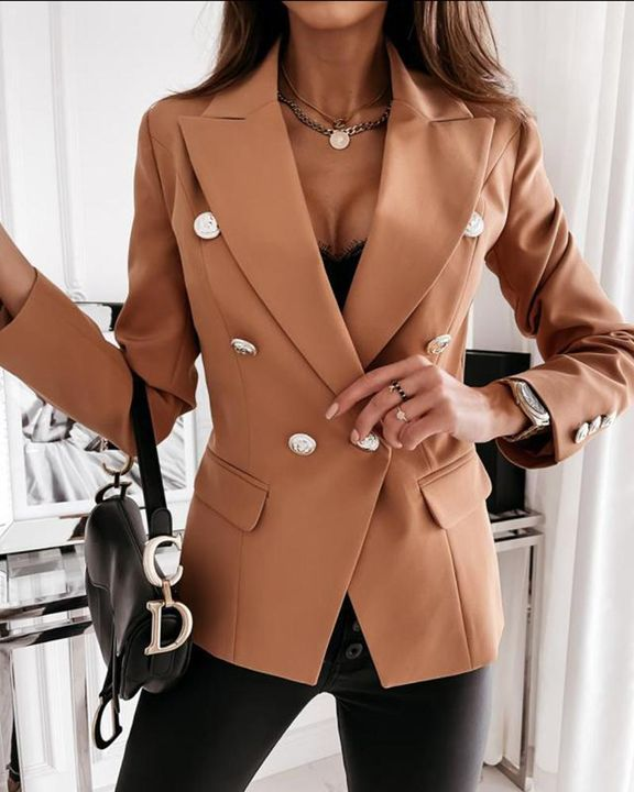 Solid Double Breasted Lapel Neck Blazer gallery 6