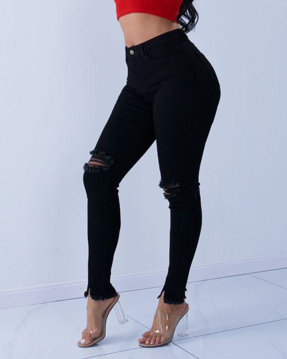 Solid Knee Distressed Raw Hem Jeans gallery 10