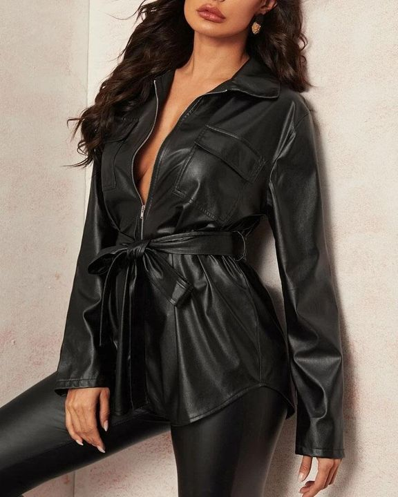 PU Leather Flap Pocket Belted Zip Front Jacket gallery 1