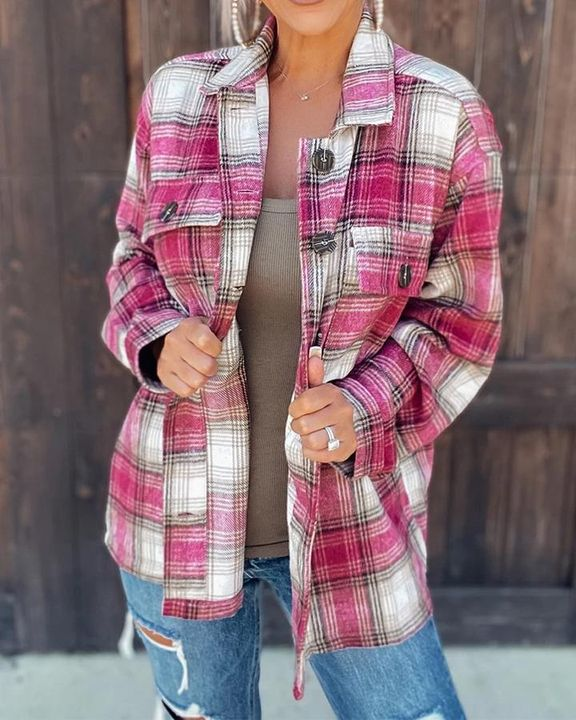 Plaid Flap Pocket Button Up Overshirt gallery 1