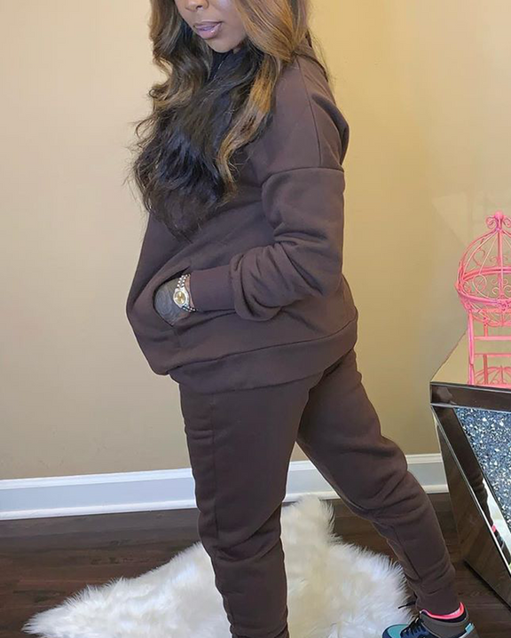 Solid 4 Pockets Long Sleeve Top & Pants Set gallery 11