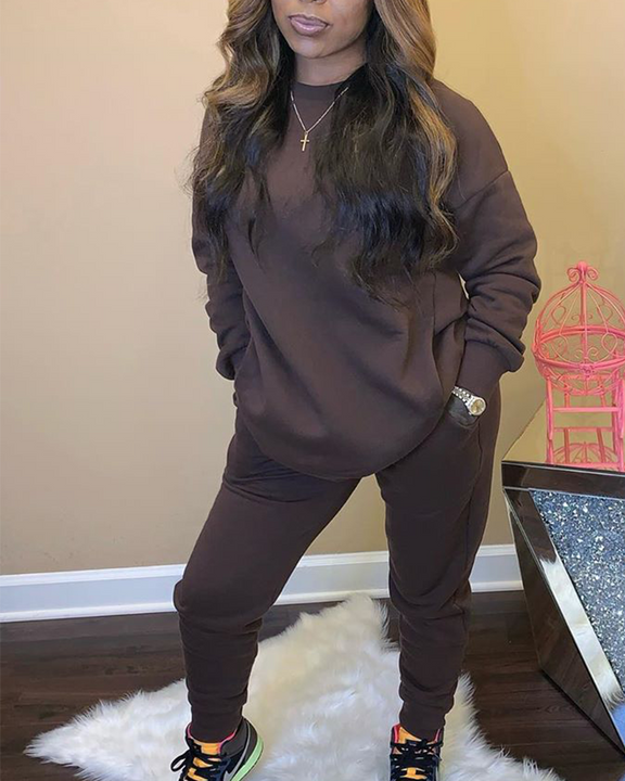Solid 4 Pockets Long Sleeve Top & Pants Set gallery 2