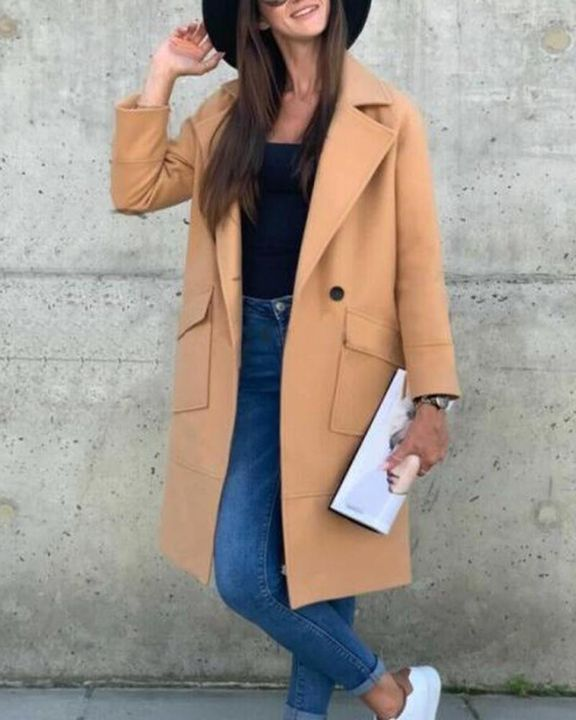 Solid Button Front Pocket Detail Lapel Neck Coat gallery 5