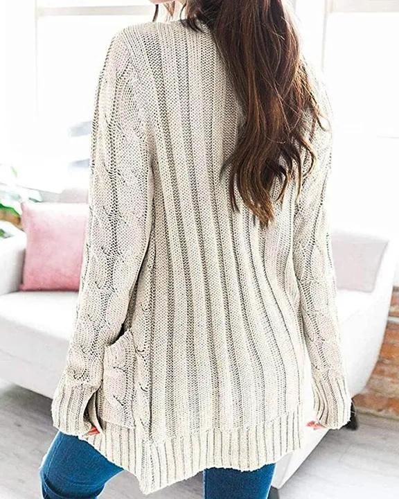 Cable Knit Patch Pocket Button Open Front Cardigan gallery 3