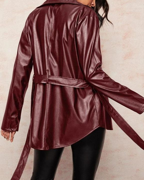 PU Leather Flap Pocket Belted Zip Front Jacket gallery 4