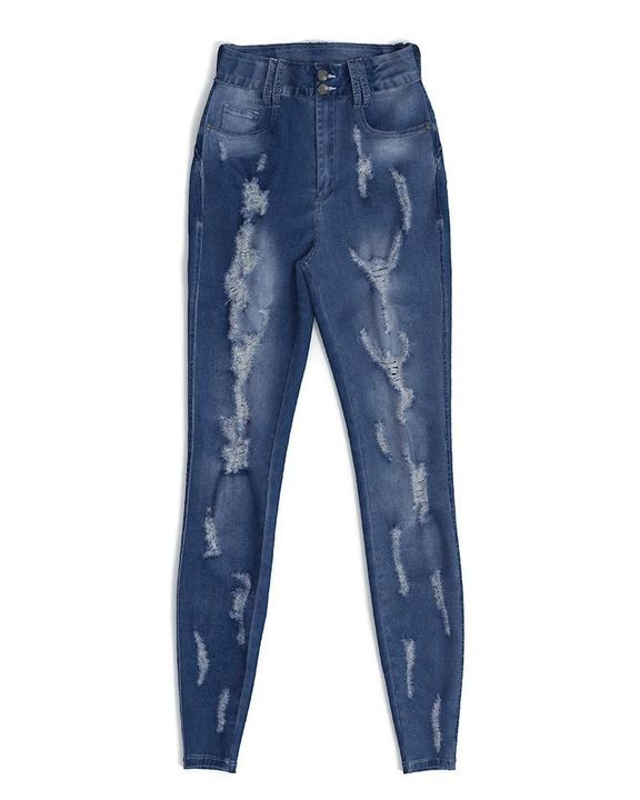 Extreme Distressed High Waist Skinny Jeans gallery 18