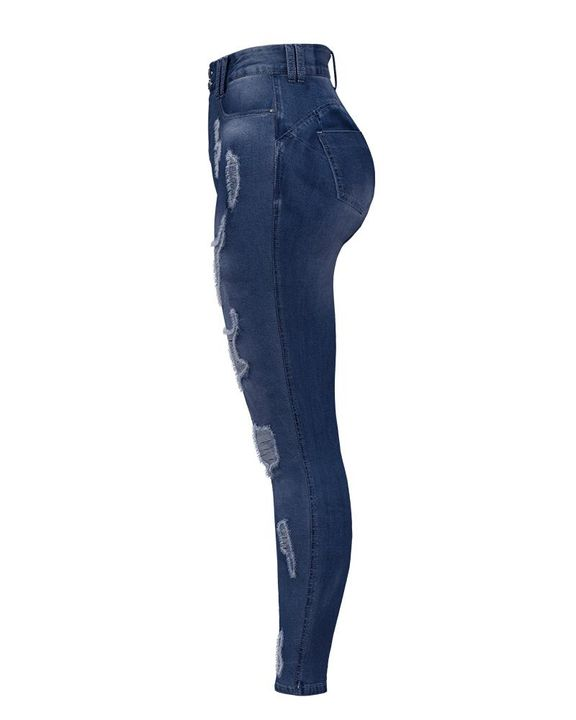 Extreme Distressed High Waist Skinny Jeans gallery 16
