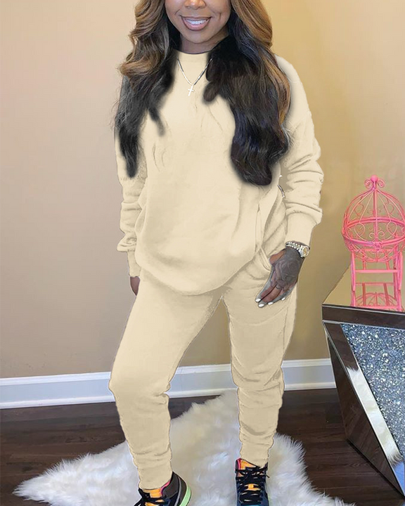 Solid 4 Pockets Long Sleeve Top & Pants Set gallery 8