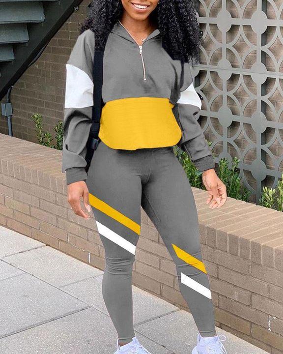 Colorblock Zipper Detail Stand Collar Top & Pants Set gallery 3