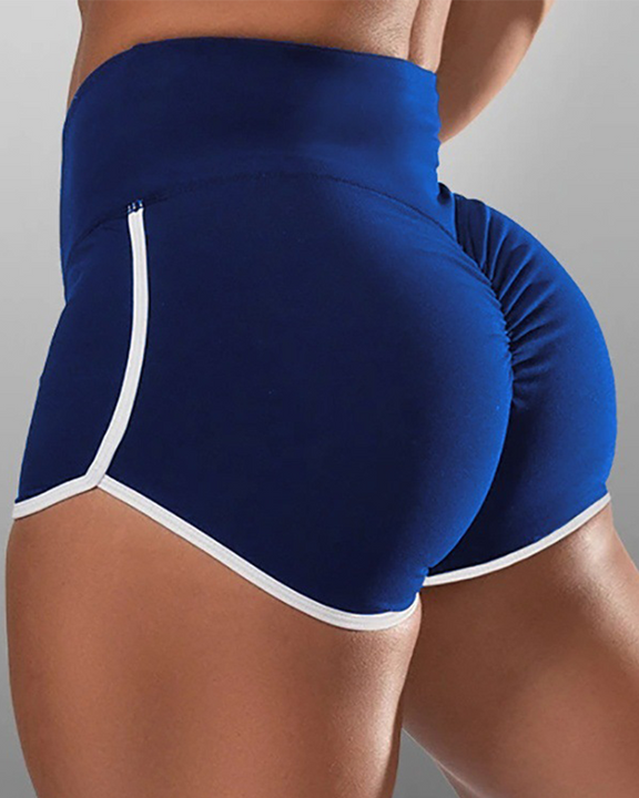 Contrast Binding High Waist Ruched Shorts gallery 3