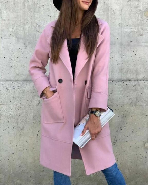 Solid Button Front Pocket Detail Lapel Neck Coat gallery 8