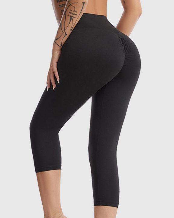 Wide Waistband Scrunch Butt Capris Sports Leggings gallery 1