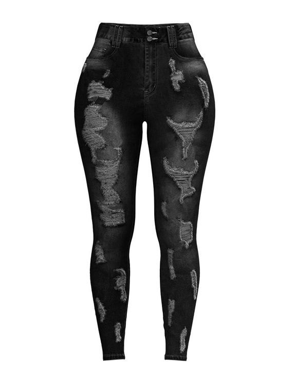 Extreme Distressed High Waist Skinny Jeans gallery 21