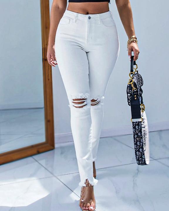 Solid Knee Distressed Raw Hem Jeans gallery 1